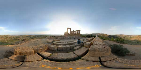 panoramas 360° of the temples valley at agrigente in Sicily