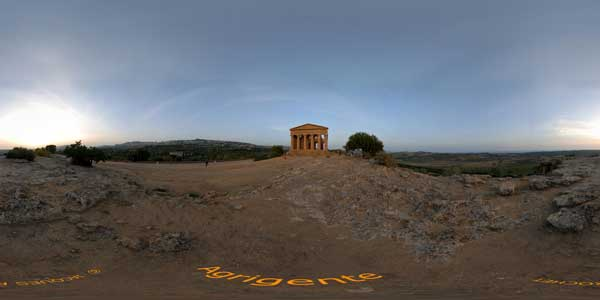 panorama 360° of the temples valley at agrigente in sicily