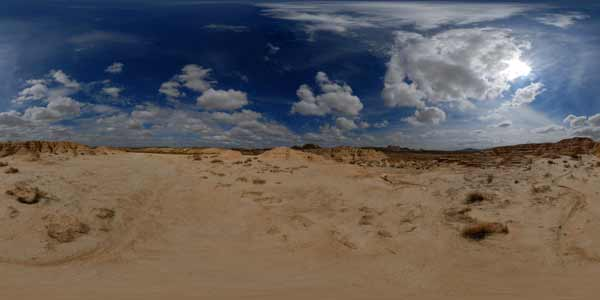 panorama 360° of the bardenas reales in spain, europe
