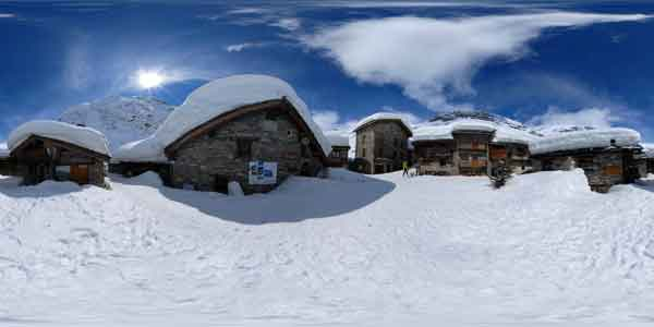 panoramas 360° of bonneval sur arc, a village with snow in mountain, french alps