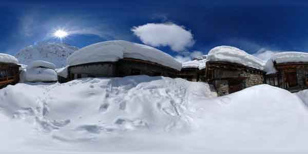 panorama 360° of a village with snow in mountain, bonneval sur arc in the french alps,  France