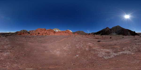 Valle del arcoiris in panorama 360°,  Atacama desert, Chile