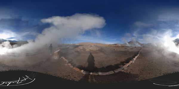 geysers del tatio in panorama 360°,  Atacama desert, Chile
