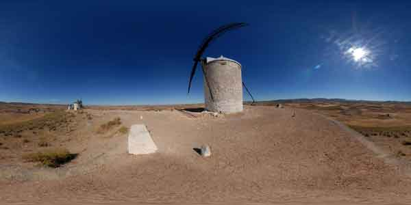 windmills of consuegra in 360°, travel in spain