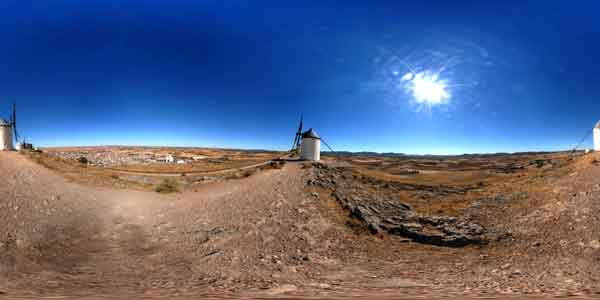 panoramas 360° of consuegra windmills, travel in spain