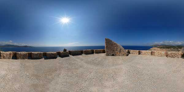 panorama 360° of the genoise tower punta domigna in corsica