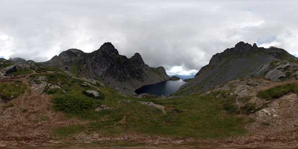 crozet lake in 360°, massif de belledonne in isère in the alps