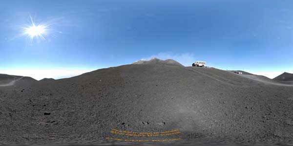 panorama 360° under the summit of etna in  sicily