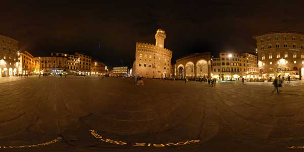 panorama 360° of the piazza della signoria by night in florence