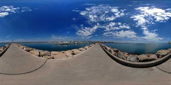 panorama 360° of the port  de La Grande Motte in the south of France