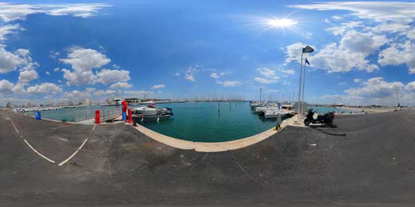 port of the grande motte in 360°, languedoc roussillon, south of france
