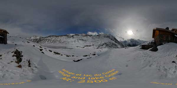 panorama 360° of the refuge & lac du goleon in oisan, isere, alps