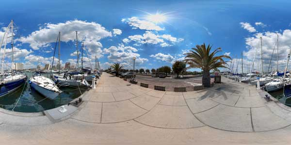 panorama 360° of the port of the grande motte, languedoc rousillon, france