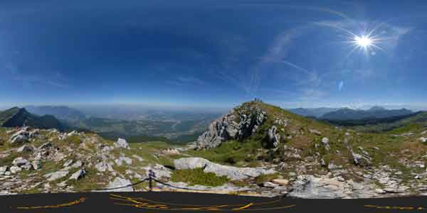 panorama 360° from the top of the grande sure, french alps; travel in europe
