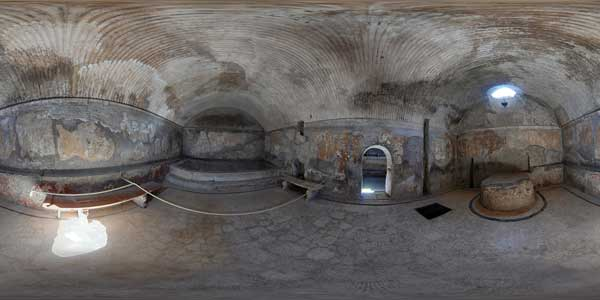 panorama 360° of women thermal baths at herculanum, antique city, italy
