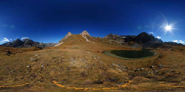 panoramas 360° of lac des cerces in savoie, massif du galibier in the alps