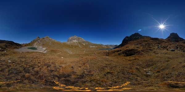 panoramas 360° of the lakes ban and rond in the massif des cerces in savoie, alps
