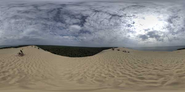 panoramas 360° from the summit of the dune of pyla in aquitaine