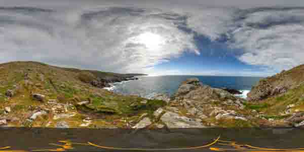 panorama 360° of la pointe du raz in brittany, finistère, France