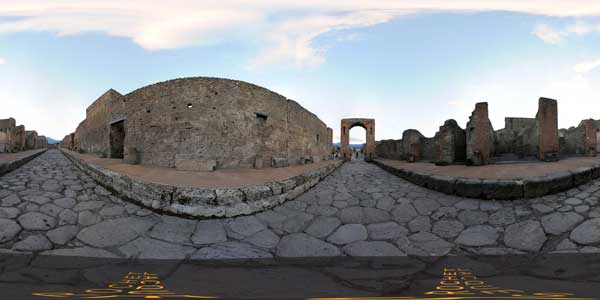 panorama 360° , cite antique de pompei en italie, eruption du vesuve