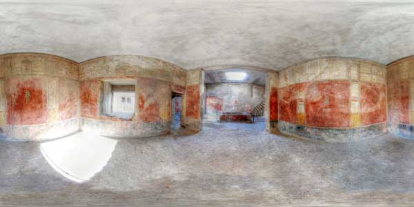 panorama 360° , cite antique de pompei en italie, interieur d'une maison