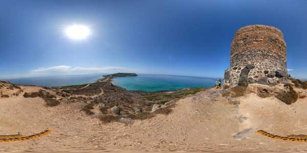the sardinia in 360°, sinis peninsula, la torre san giovanni