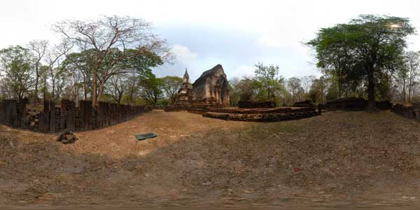 panoramas 360° of  si satchanalai temples in thailand