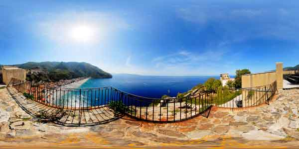 panorama 360° of scilla in calabria, italy