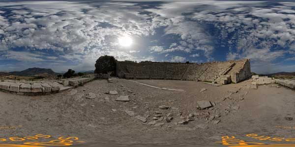 antique theater in segestre in panorama 360° in sicily