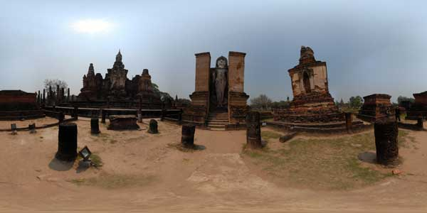 sukhothai temples in thailand, panoramas 360°