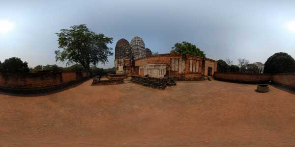 sukhothai temples in thailand, panorama 360° of wat si sawaï temple