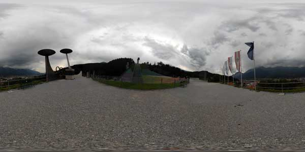 bergisel ski jumping hill in 360°, innsbruck in austria