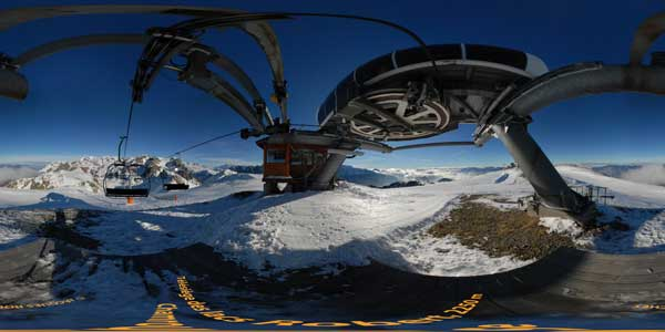 summit of lakes robert ski lift at chamrousse, alps, panorama 360°