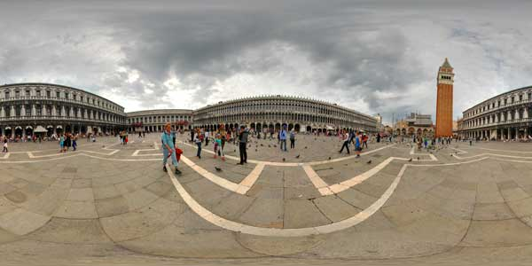 panoramas 360° of the place san marco at venice