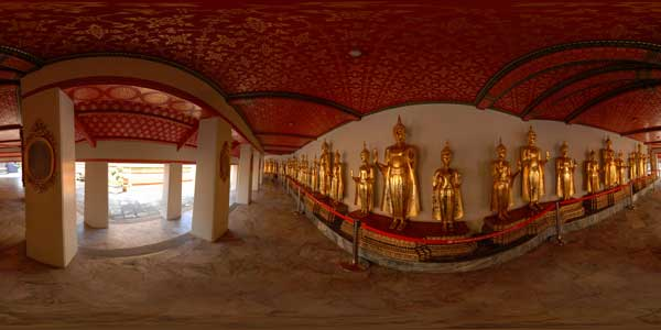 panorama 360° , interior of wat pho temple at bangkok in thailand