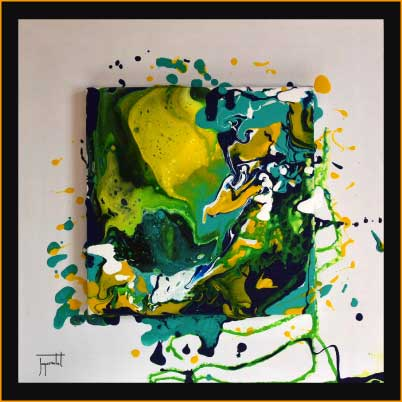 jacques rochet ABSTRACT PAINTING, pouring painting on canvas