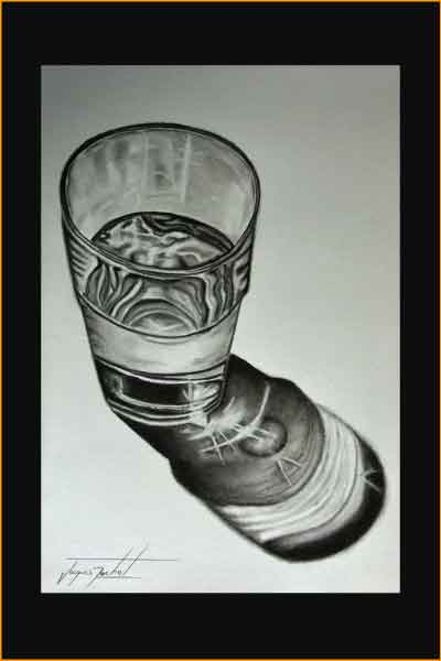 glass of water - pencil on paper, Jacques Rochet