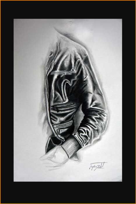 Blouson, leather jacket - crayon & mine de plomb sur papier, jacques rochet