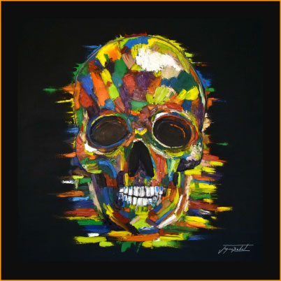 color skull, oil painting of jacques rochet