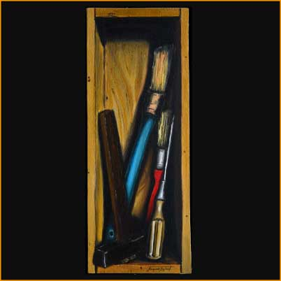 painting of Jacques Rochet, trompe-l'oeil, bricolage, oil on wood