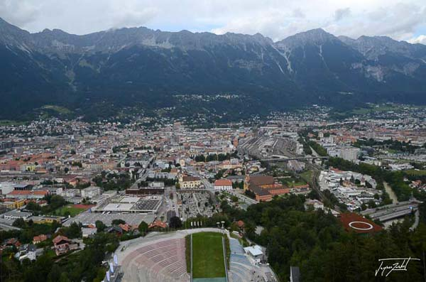 Innsbruck View from the top of the ski jump, austria