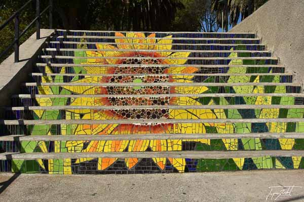 Photo of Chile, mosaic-decorated stairs in valparaiso