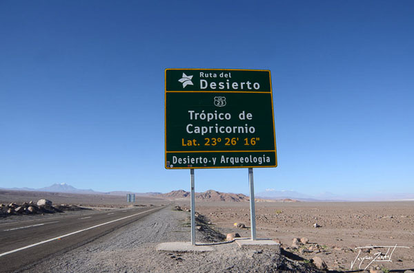 Photo of Chile, sign indicating the Tropic of Capricorn, Desert of Atacama