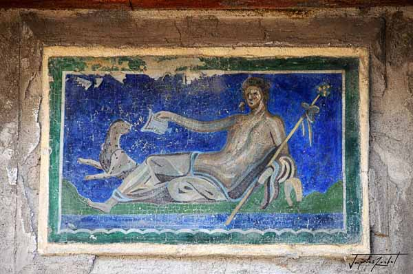 Painting in the ancient city of Herculaneum in Italy