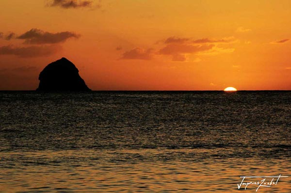 Sunset on the diamond rock in Martinique, French West Indies