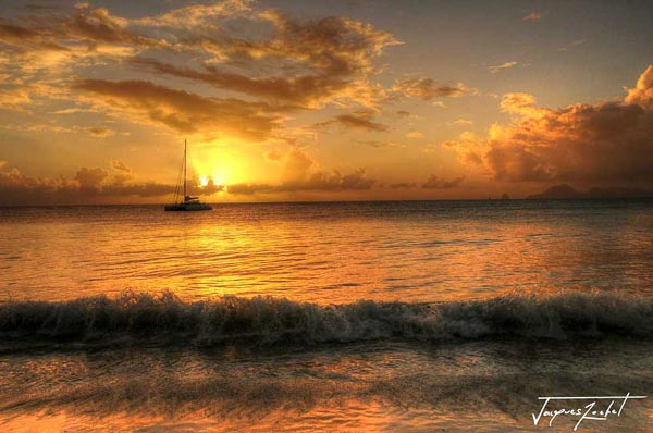 Sunset over the Caribbean Sea, photo of Martinique
