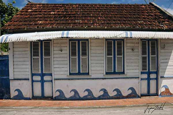 Martinique, a Creole hut in Saint Pierre, French West Indies