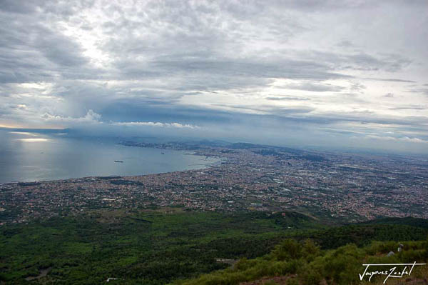 View of Naples from the top of Vesuvius