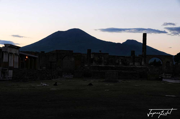 The ancient city of Pompeii at the foot of Mount Vesuvius