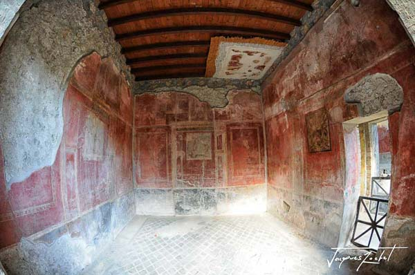 Ancient city of Pompeii near Naples, interior of a house